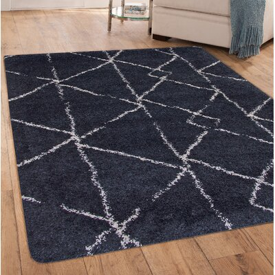 Tefft Blue/Ivory Area Rug Rug Size: Rectangle 8 x 10