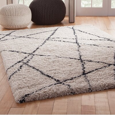 Tefft Shag/Flokati Synthetic Ivory/Blue Indoor Area Rug Rug Size: Rectangle 5 x 8