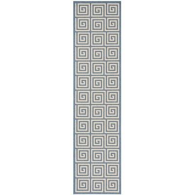 Horne Cream/Blue Area Rug Rug Size: Runner 2 x 8