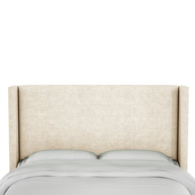 Hilley Linen Upholstered Wingback Headboard Size: King, Upholstery: Talc