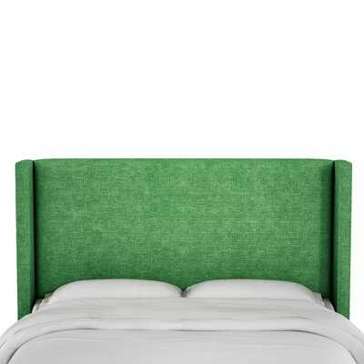 Hilley Linen Upholstered Wingback Headboard Size: California King, Upholstery: Kelly Green