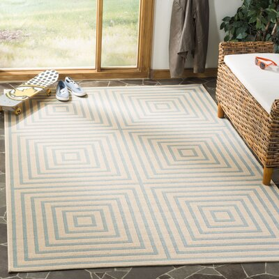 Shea Cream/Aqua Area Rug Rug Size: Rectangle 9 x 12
