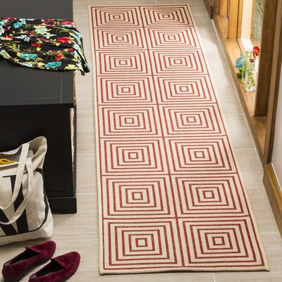Shantell Red/Cream Area Rug Rug Size: Runner 2 x 8