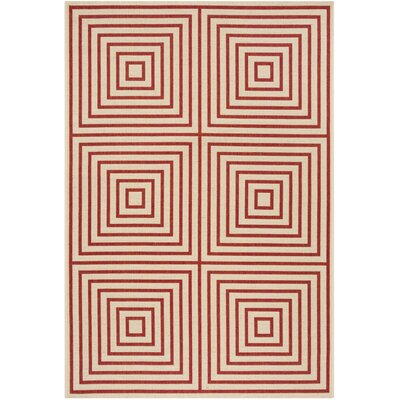 Shantell Red/Cream Area Rug Rug Size: Rectangle 4 x 6
