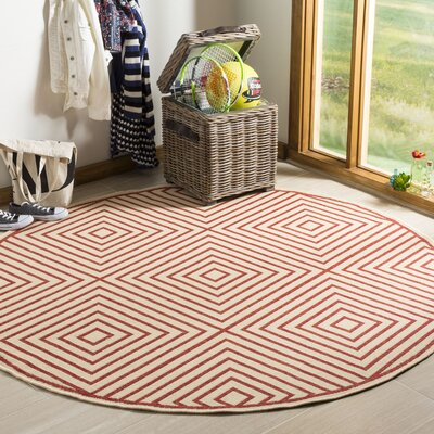 Shantell Red/Cream Area Rug Rug Size: Round 67