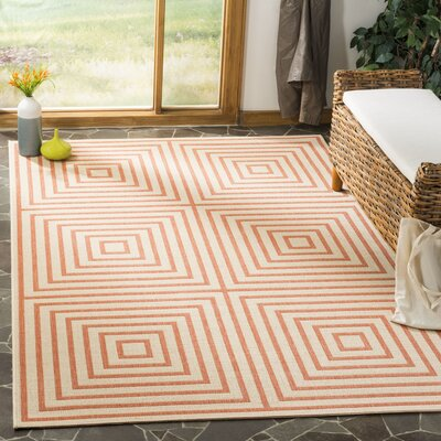 Shea Cream/Rust Area Rug Rug Size: Rectangle 9 x 12