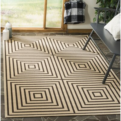Horne Creme/Brown Area Rug Rug Size: Rectangle 51 x 76