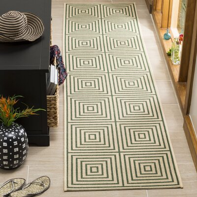 Shantell Cream/Green Area Rug Rug Size: Runner 2 x 8