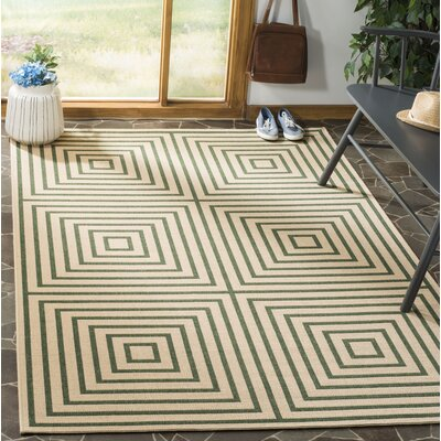 Shantell Cream/Green Area Rug Rug Size: Rectangle 4 x 6