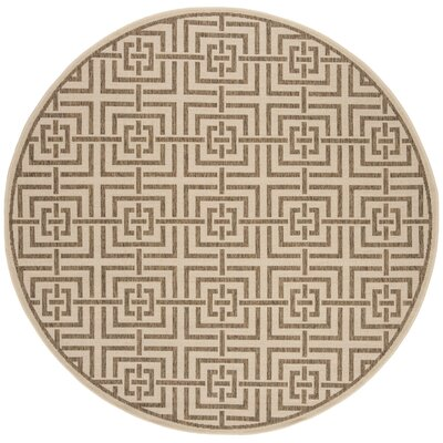Kallias Cream/Beige Area Rug Rug Size: Round 67