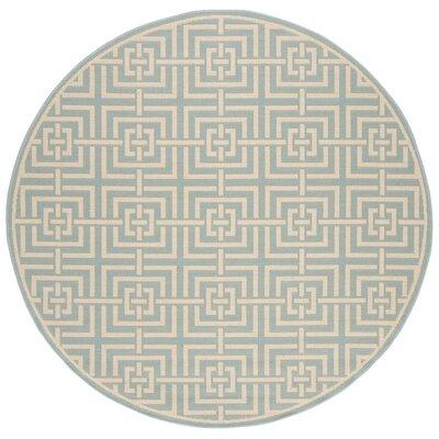 Shea Aqua/Cream Area Rug Rug Size: Round 67