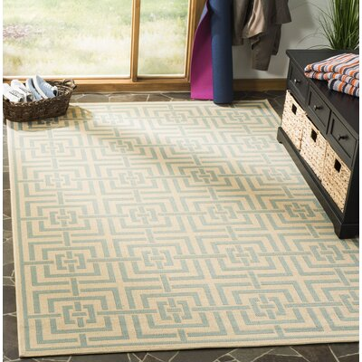 Shea Cream/Aqua Area Rug Rug Size: Rectangle 51 x 76