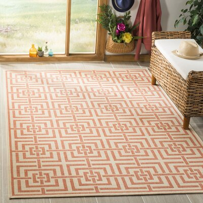 Kallias Cream/Rust Area Rug Rug Size: Rectangle 51 x 76