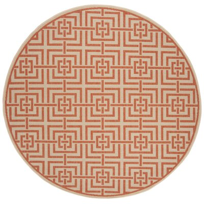 Kallias Cream/Rust Area Rug Rug Size: Round 67