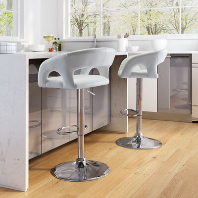 Cosmas Adjustable Height Bar Stool Upholstery: White