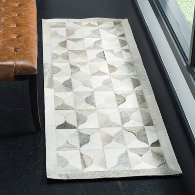 Wylie Leather Hand Tufted Gray Area Rug Rug Size: Runner 23 x 7