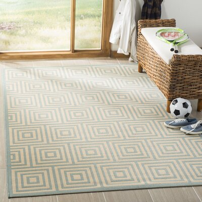 Kallias Cream/Aqua Area Rug Rug Size: Round 67