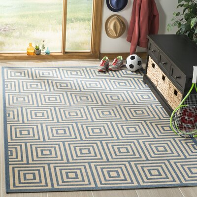 Horne Cream/Blue Area Rug Rug Size: Runner 2 x 8