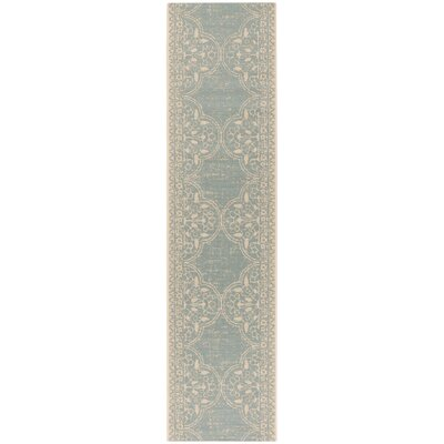 Shantell Aqua/Cream Area Rug Rug Size: Runner 2 x 8