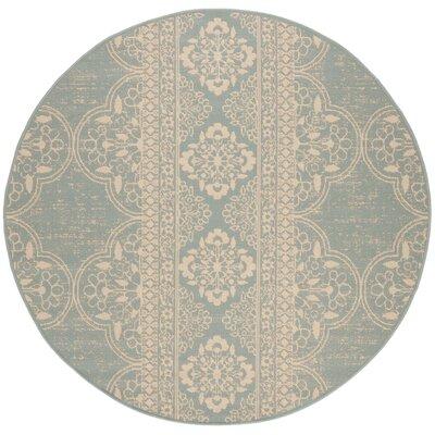 Shantell Aqua/Cream Area Rug Rug Size: Round 67