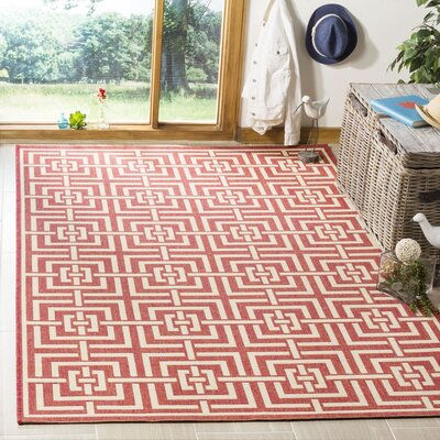 Katsikis Red/Creme Area Rug Rug Size: Rectangle 4 x 6