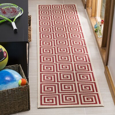 Katsikis Red/Creme Area Rug Rug Size: Runner 2 x 8