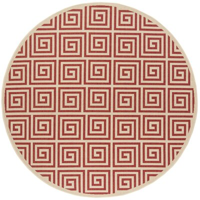 Katsikis Red/Creme Area Rug Rug Size: Round 67