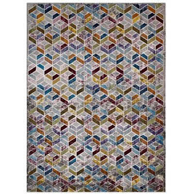 Edmore Gray/Purple Area Rug Rug Size: Rectangle 53 x 76