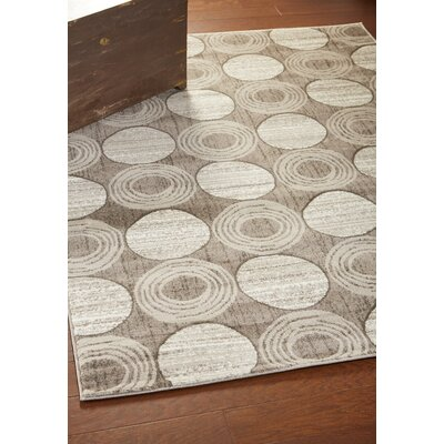 Kalliope Gray Circles Area Rug Rug Size: Rectangle 37 x 56