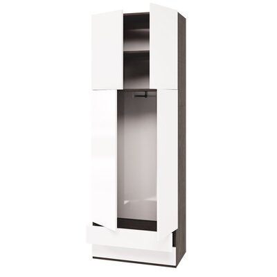 Genevie Multimo Armoire Color: High Gloss White/Dark wood