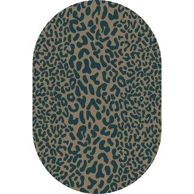 Macias Teal Animal Print Area Rug Rug Size: Oval 6 x 9