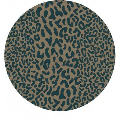 Macias Teal Animal Print Area Rug Rug Size: Round 4