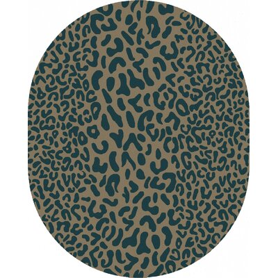Macias Teal Animal Print Area Rug Rug Size: Oval 8 x 10
