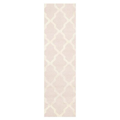 Light Pink/Ivory Area Rug Rug Size: Runner 26 x 6