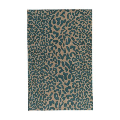 Macias Teal Animal Print Area Rug Rug Size: Square 9