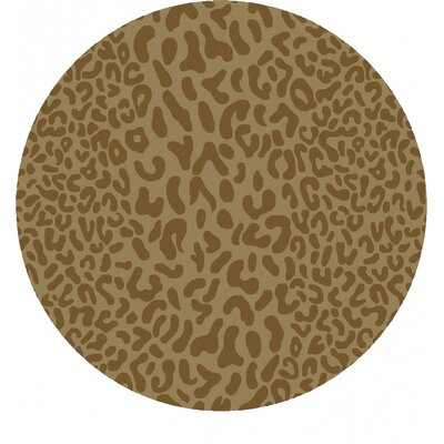 Macias Beige Animal Print Area Rug Rug Size: Round 8