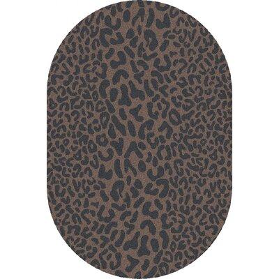 Macias Handmade Gray Animal Print Area Rug Rug Size: Oval 6 x 9