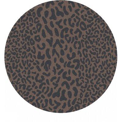Macias Handmade Gray Animal Print Area Rug Rug Size: Round 8