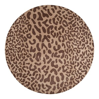 Macias Hand-Woven Tan Area Rug Rug Size: Round 8