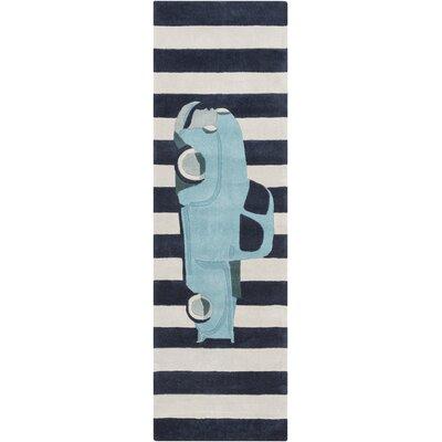 Cherish Blue Car Area Rug Rug Size: Runner 26 x 8