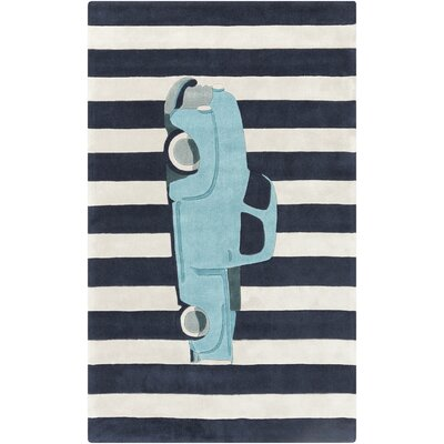 Cherish Blue Car Area Rug Rug Size: 8 x 11