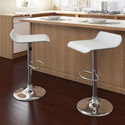 Gould Adjustable Height Bar Stool Set Upholstery: White