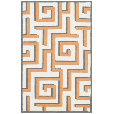 Levy Ivory/Brown Indoor/Outdoor Area Rug Rug Size: 5 x 8