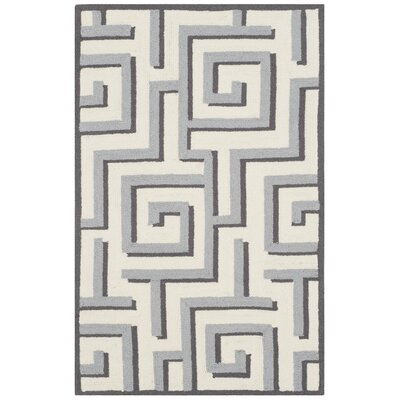 Naya Ivory/Gray Indoor/Outdoor Area Rug Rug Size: 36 x 56