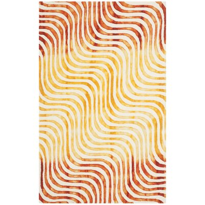 Niki Dip Dyed Ivory/Terracotta Area Rug Rug Size: Rectangle 5 x 8