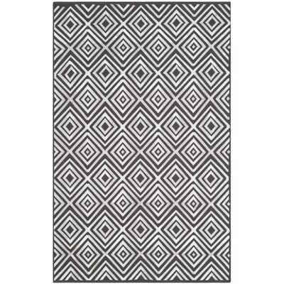 Mata Kilim Hand-Woven Charcoal Area Rug Rug Size: Rectangle 4 x 6