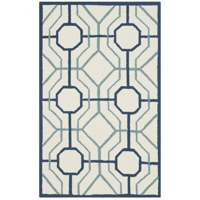 Naya Geometric Ivory/Gray Indoor/Outdoor Area Rug Rug Size: Runner 2'3