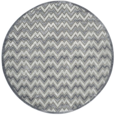 Drew Light Gray/Dark Gray Area Rug Rug Size: Round 67