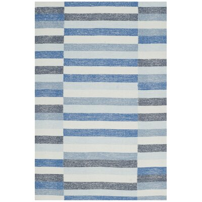 Mata Striped Kilim Blue Area Rug Rug Size: 5 x 8