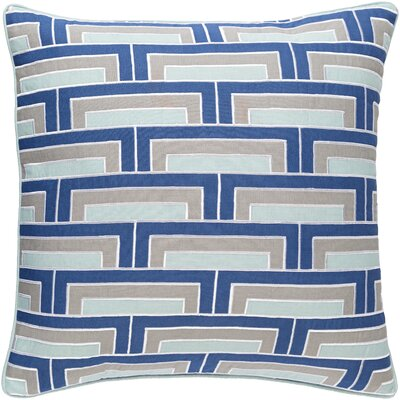Balard Linen Square Throw Pillow Size: 18 H x 18 W x 4 D, Color: Cobalt/Mint/Gray/Ivory